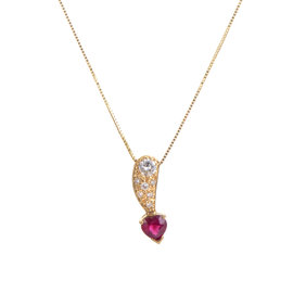 14K Yellow Gold Diamond & Ruby Heart Pendant Necklace