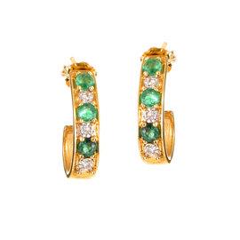14K Yellow Gold Diamond & Emerald Huggie Earrings