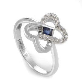 14K White Gold Sapphire & Diamond Interlocking Hearts Ring