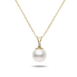 14k Yellow Gold Akoya Cultured Pearl & Diamond Pendant Necklace