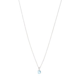 14k White Gold Aquamarine March Birthstone Pendant with Chain