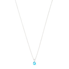 14k White Gold Blue Topaz December Birthstone Pendant with Chain