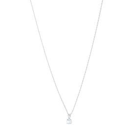 14k White Gold White Topaz April Birthstone Pendant with Chain