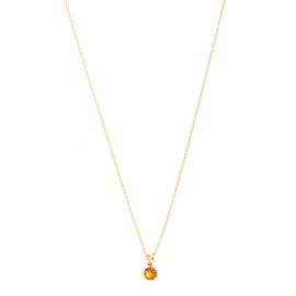 14k Yellow Gold Citrine November Birthstone Pendant with Chain