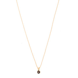 14k Yellow Gold Smoky Quartz June Birthstone Pendant with Chain