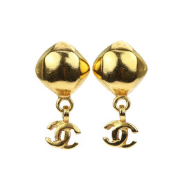 Chanel 98A Gold Tone Metal Stud CC Drop Earrings