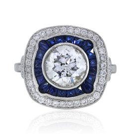 Platinum 0.81ct Ceylon Sapphire and 2.5ct Diamond Engagement Ring Size 6.5