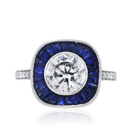 Platinum 3.49ct Diamond and 1.38ct Sapphire Engagement Ring Size 6.5