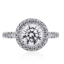 18K White Gold 1.07ct Diamond Halo Set Engagement Ring Size 4.5