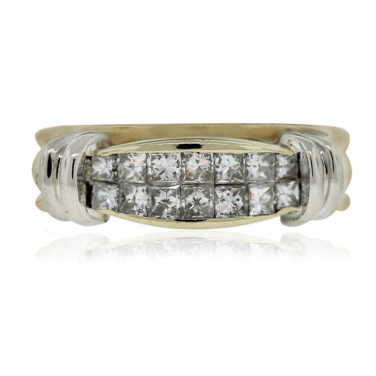 "Image of ""14K Yellow Gold Princess Cut Diamond Wedding Band Ring Size 7"""