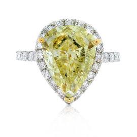 18K White Gold Diamond Halo Engagement Ring Size 6.75