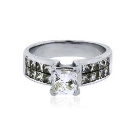 18K White Gold 1.80ct Diamond Engagement Ring Size 5.75