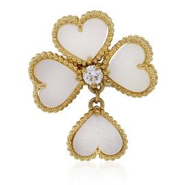Van Cleef 18K Yellow Gold Mother of Pearl Alhambra Effeuillage Diamond Ring