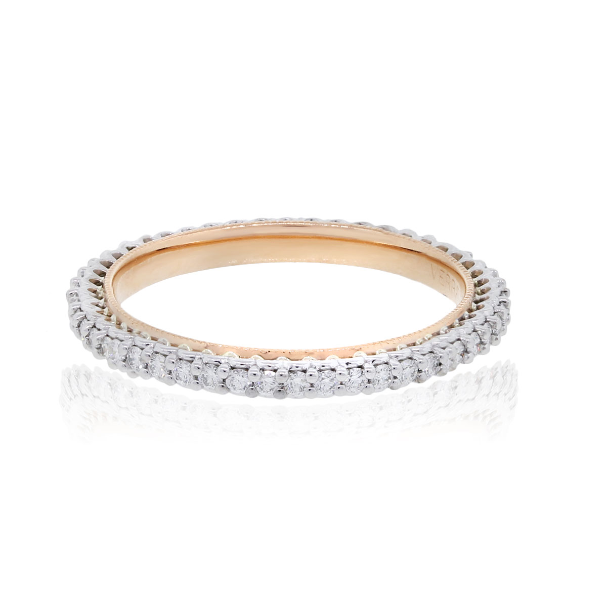 "Image of ""Verragio 18K White and Rose Gold 0.45ct Band Ring Size 8"""