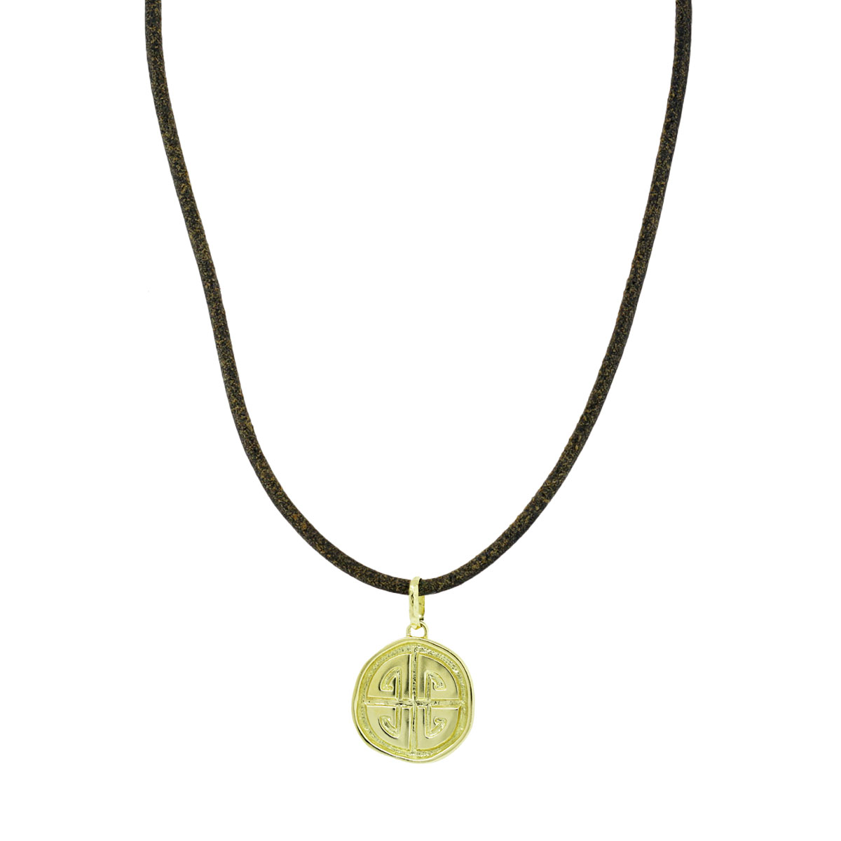 "Image of ""Torrini Firenze 18K Yellow Gold Labyrinth Charm On Leather Necklace"""