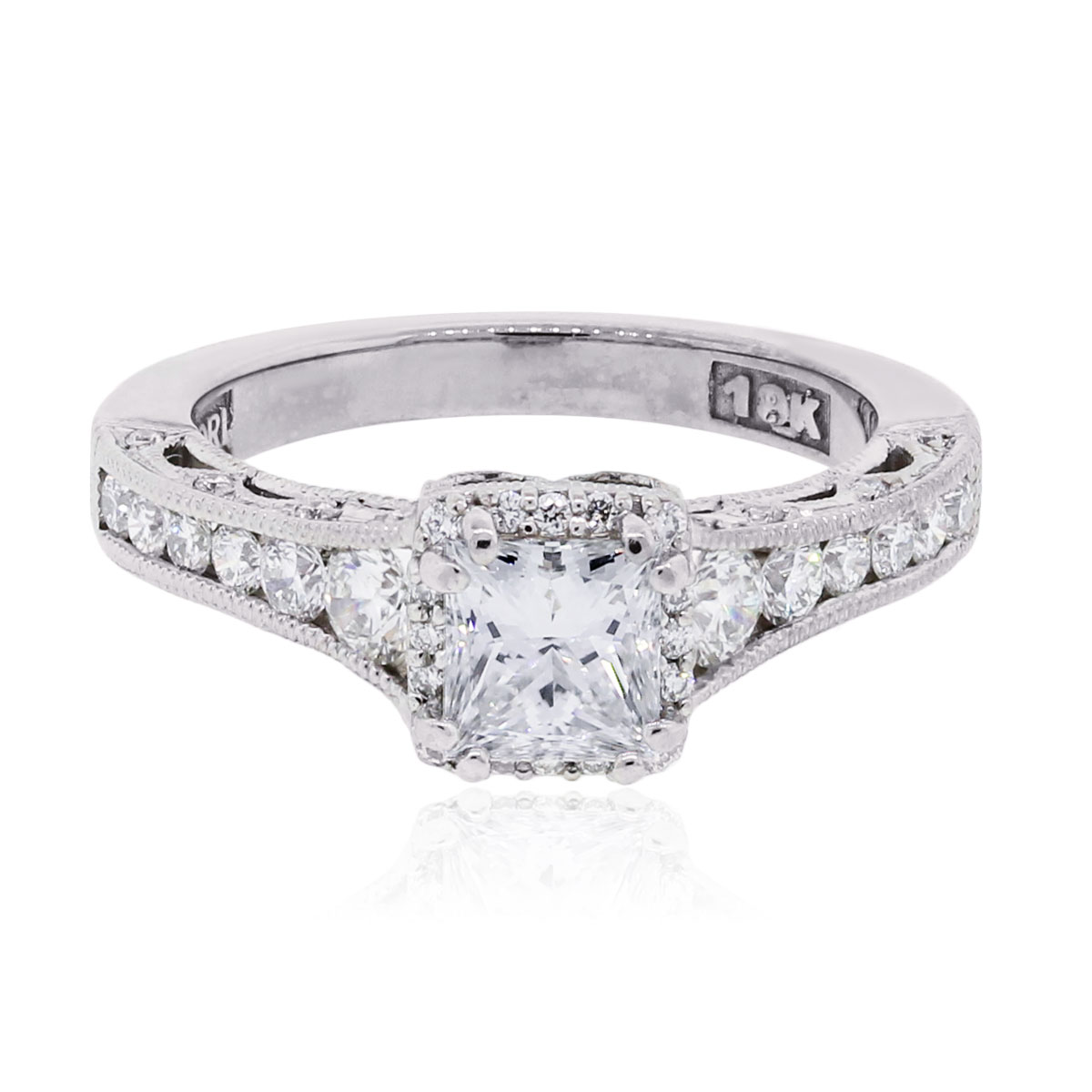 "Image of ""Tacori 18K White Gold 1.28ctw Diamond Reverse Crescent Diamond Ring"""