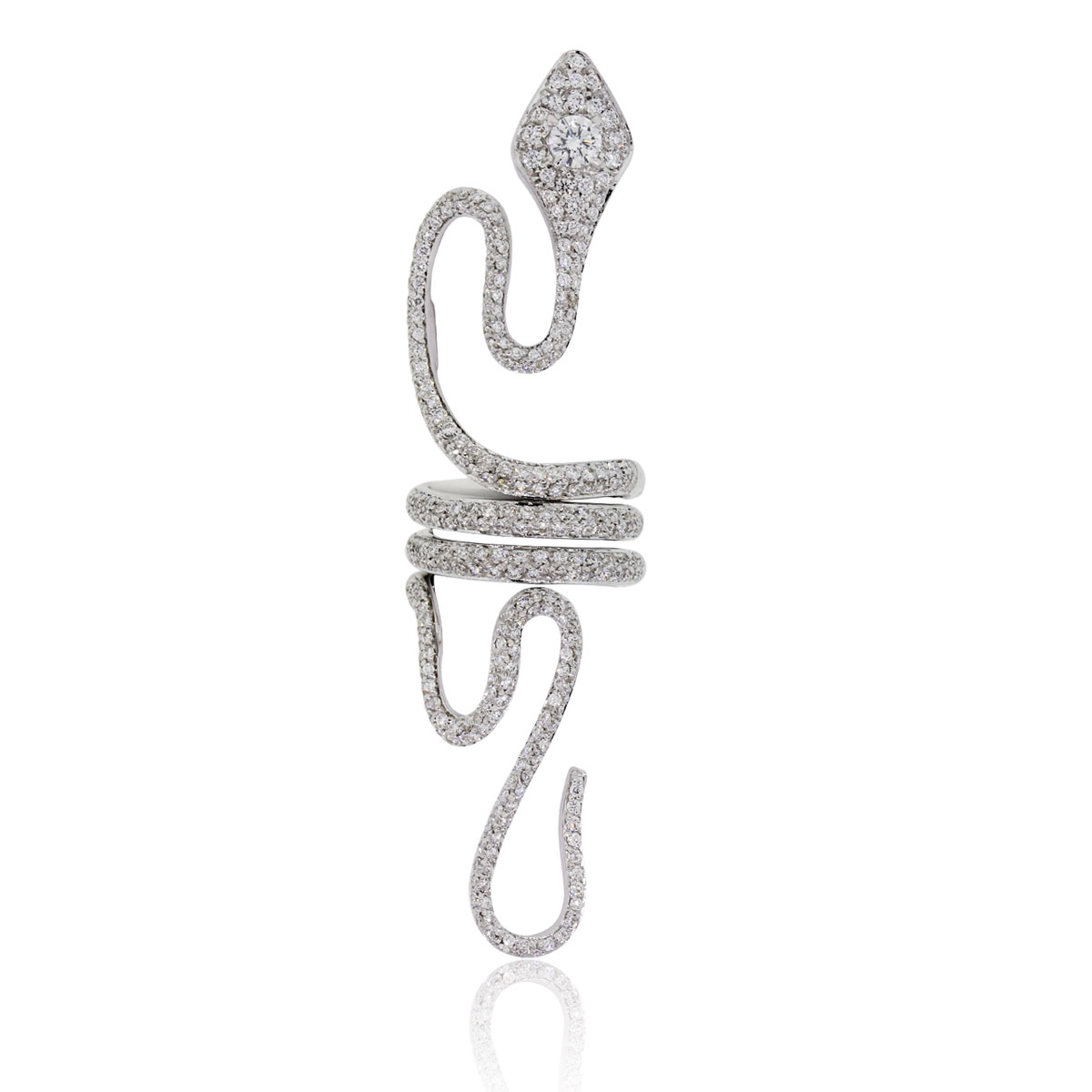 "Image of ""Paolo Piovan 18K White Gold 3.50ct Diamond Snake Ring Size 5.75"""