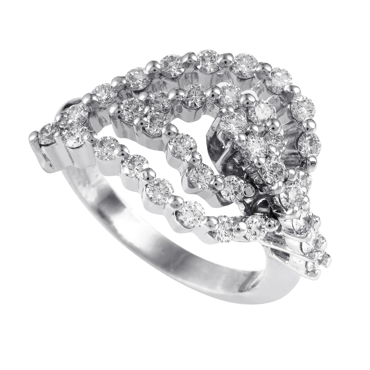 "Image of ""Raima 18K White Gold Diamond Leaf Ring"""