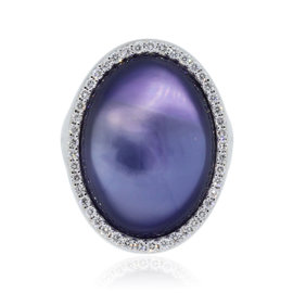 Roberto Coin 18K White Gold Diamond Amethyst Mother Of Pearl Ring