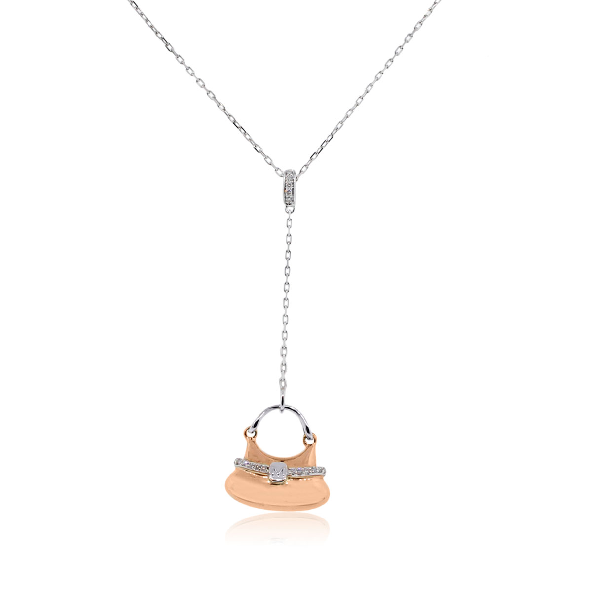 "Image of ""18K White & Rose Gold Diamond Purse Pendant Necklace"""