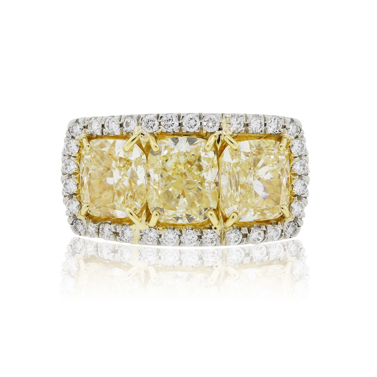 "Image of ""Platinum 18k Gold 6.83ct Fancy Yellow Cushion Cut and 0.76ct Round"""
