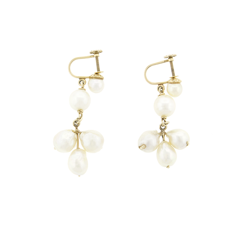 "Image of ""14k Yellow Gold Fresh Water Pearl Drop Earrings"""