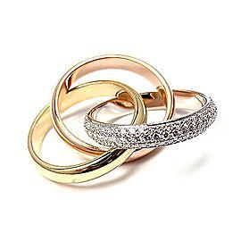 Cartier 18K Tri Color Trinity Diamond Ring