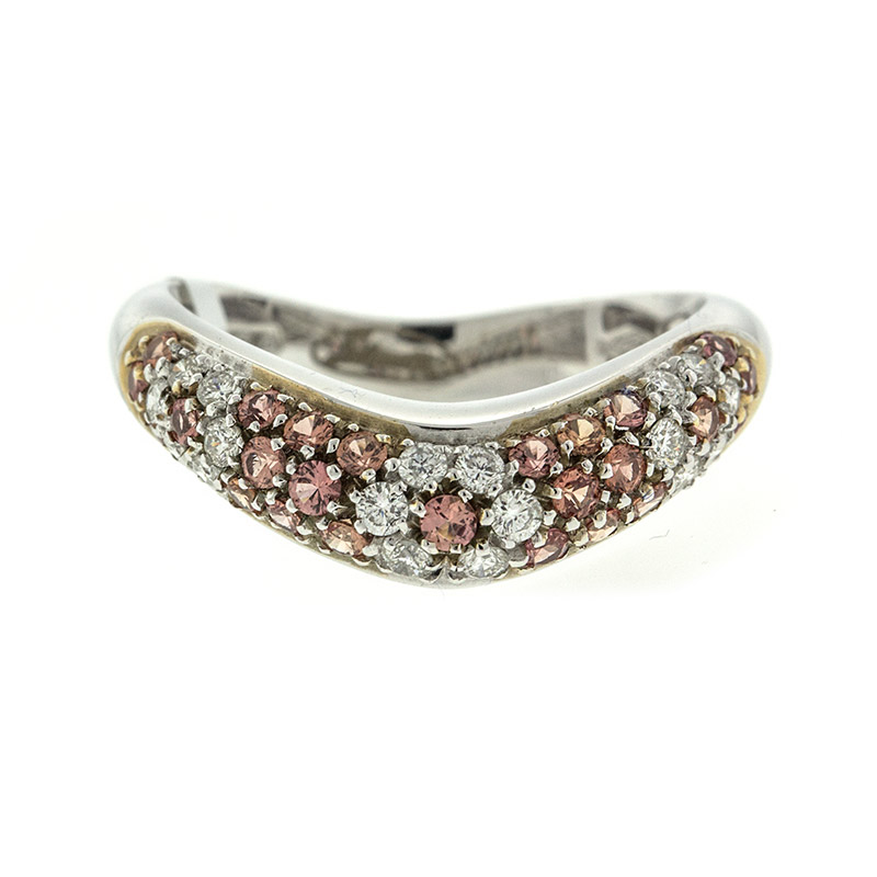 "Image of ""18k White Gold Salavetti Contemporary Citrine & Diamond Wave Ring"""