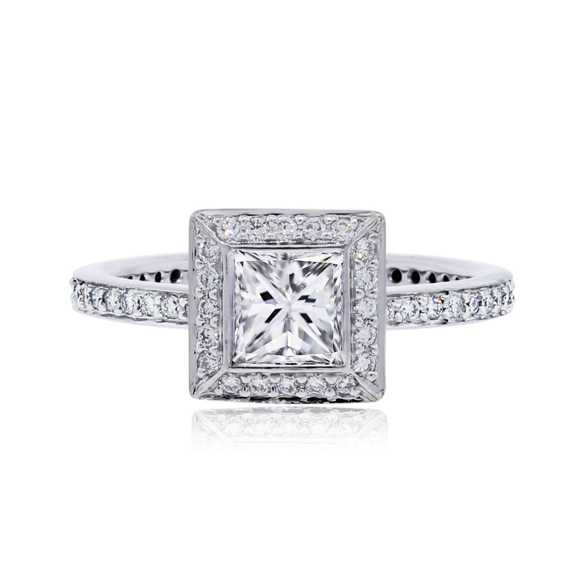 "Image of ""Ritani 18K White Gold 0.90ct Diamond Halo Ring Size 5"""