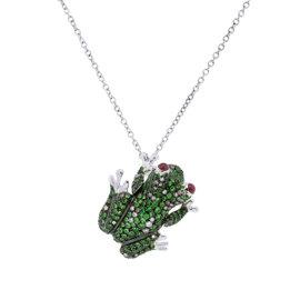 Roberto Coin 18K White Gold Diamond Gemstone Frog Pendant Necklace