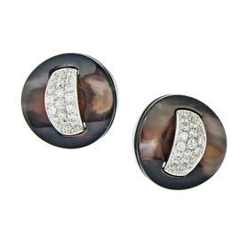 Roberto Coin 18K White Gold Black Mother of Pearl & Diamond Stud Earrings
