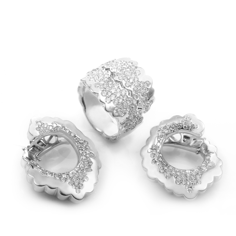 "Image of ""18K White Gold Diamond Earring & Ring Set"""