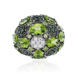 Roberto Coin White Green Diamond Peridot Cocktail Ring