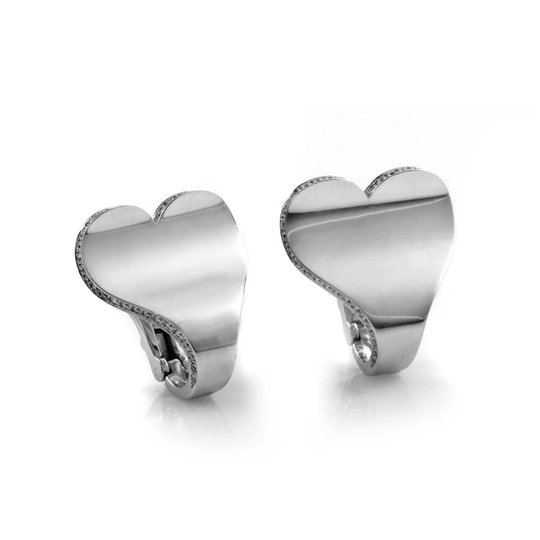 """Image of """"Roger Dubuis 18K White Gold Diamond Heart Earrings"""""""