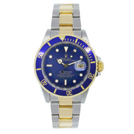 Rolex Submariner 16803 18K Yellow Gold & Stainless Steel Two Tone Blue Dial Mens Watch