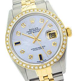 Rolex Datejust 16013 36mm MOP Sapphire Diamond Two Tone Watch