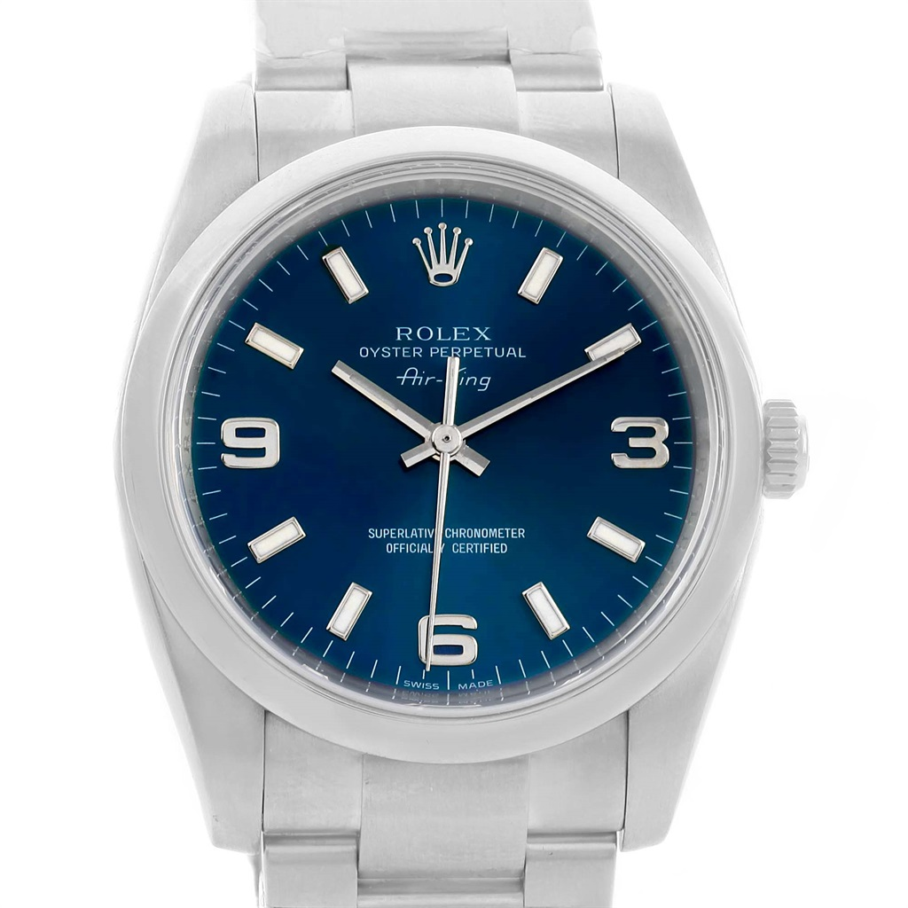 "Image of ""Rolex Air King 114200 Stainless Steel Blue Dial Domed Bezel Automatic"""