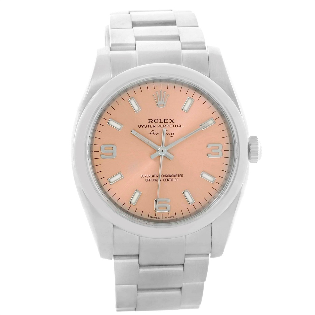 """Image of """"Rolex Air King 114200 Stainless Steel & Salmon Dial 34mm Unisex Watch"""""""