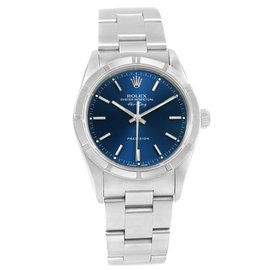 Rolex Air King 14010 Stainless Steel Blue Dial Automatic 34mm Mens Watch
