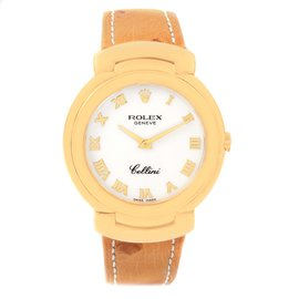 Rolex Cellini 6622 18K Yellow Gold & White Roman Dial Quartz 33mm Womens Watch