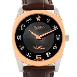 Rolex Cellini Danaos 4233 18K White Rose Gold Black Strap 34mm Mens Watch