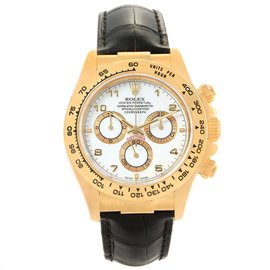 Rolex Cosmograph Daytona 116518 18K Yellow Gold & Leather White Dial Automatic 40mm Mens Watch