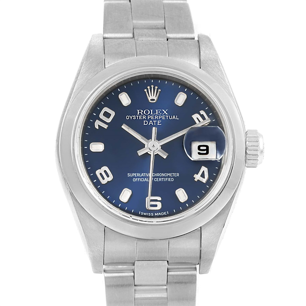 "Image of ""Rolex Date 79240 Stainless Steel Blue Dial Automatic 26mm Womens Watch"""