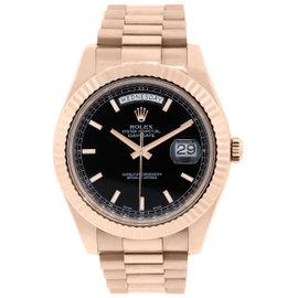 Rolex Day Date II 218238 18K Rose Gold 41mm Mens Watch