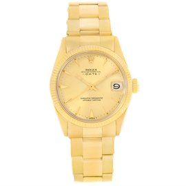 Rolex Date 6627 14K Yellow Gold Vintage Automatic 30mm Unisex Watch 1964