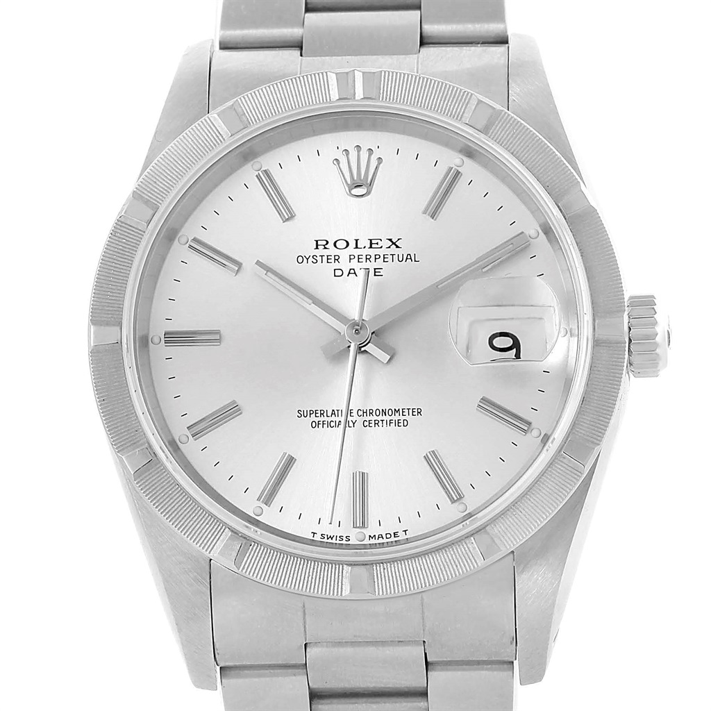 "Image of ""Rolex Date 15210 Stainless Steel Silver Baton Dial 34mm Mens Watch"""