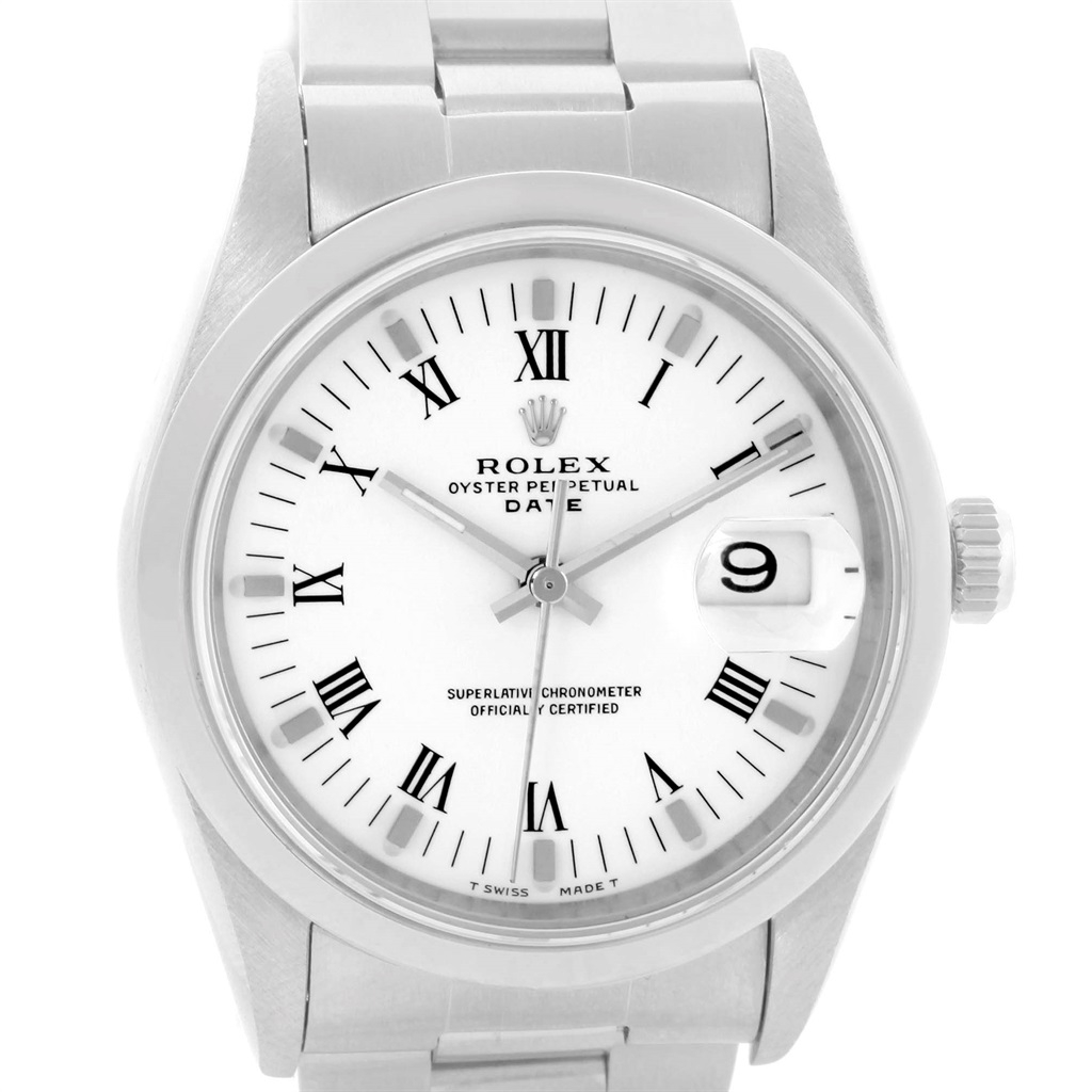 "Image of ""Rolex Date 15200 Stainless Steel White Roman Dial Automatic 34mm Mens"""
