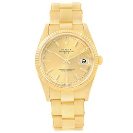 Rolex Date 15238 18K Yellow Gold & Champagne Dial 34mm Mens Watch