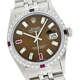 Rolex Datejust 16014 36mm Chocolate Diamond Ruby Stainless Steel Watch