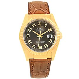 Rolex Datejust 116138 18K Yellow Gold & Leather Automatic 36mm Mens Watch